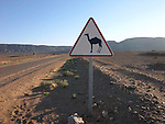 A roadsign South of Zagora on the edge of the Sahara Desert in Morocco.