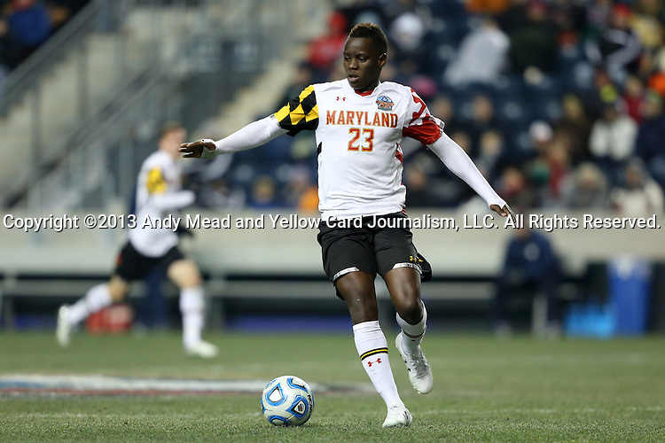 13 December 2013: Maryland's Schillo Tshuma (ZIM). The University of Maryland Terripans played the University of Virginia Cavaliers at PPL Park in Chester, Pennsylvania in a 2013 NCAA Division I Men's College Cup semifinal match. Maryland won the game 2-1.