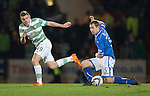St Johnstone v Celtic.....26.12.13   SPFL<br /> Frazer Wright tackles James Forrest<br /> Picture by Graeme Hart.<br /> Copyright Perthshire Picture Agency<br /> Tel: 01738 623350  Mobile: 07990 594431