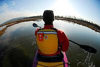 Sea kayaking in the Nisqually National Wildlife Refuge, WA.