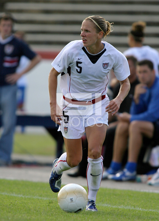 Lindsay Tarpley looks to send in a cross. The USA defeated Iceland 2-1 at Univ. of Richmond Stadium in Richmond, Virginia on Sunday, October 8, 2006.