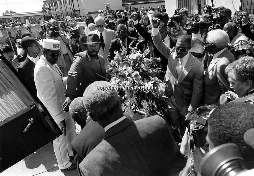 Funeral for Black Panther Huey Newton at Allen Temple Baptist church. Newton was killed on the streets of Oakland. California.<br />
