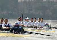 London, GREAT BRITAIN,  Cambridge take the lead  as the crews approach Mortlake, during the 2007 Boat Race between Putney and Mortlake, on  Sat. April 7th. England [Photo Peter Spurrier/Intersport Images].CAMBRIDGE BLUE BOAT, bow, Kristopher McDaniel, Dan O?Shaughnessy, Peter Champion, Jacob (Jake) Cornelius, Tom James [President], Kieran West, Sebastian Schulte, Thorsten Engelmann, cox, Rebecca Dowbiggin..OXFORD BLUE BOAT. Bow, Robin Ejsmond-Frey President, Adam Kosmicki, Michal Plotkowiak, Magnus Fleming, Andrew Wright, ], William?Brodie? Buckland, Terence Kooyker, stroke, Ante Kusurin, Cox, Nicholas Brodie Varsity Boat Race, Rowing Course: River Thames, Championship course, Putney to Mortlake 4.25 Miles,
