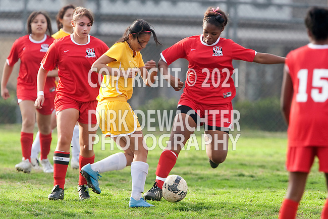 Los Angeles, CA 02/01/10 - Melanie Barreno (Westchester #14), Shamiah Bradford (Westchester #20) and Monica Rosales (Fairfax #17) in action during the Westchester vs Fairfax Girls Varsity soccer game at Fairfax High School.