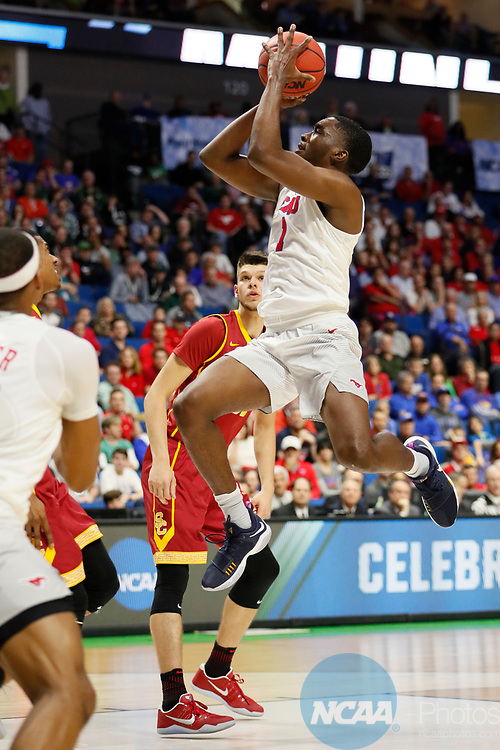 TULSA, OK - MARCH 17:  Shake Milton (1) of the Southern Methodist Mustangs attempts a running jump shot during the 2017 NCAA Men's Basketball Tournament held at the BOK Center on March 17, 2017 in Tulsa, Oklahoma. (Photo by David Klutho/NCAA Photos via Getty Images)