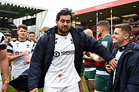 Steven Luatua of Bristol Bears with team-mate Callum Sheedy after the match. Gallagher Premiership match, between Leicester Tigers and Bristol Bears on April 27, 2019 at Welford Road in Leicester, England. Photo by: Patrick Khachfe / JMP