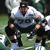 Brent Qvale #79 stretches during team practice at the Atlantic Health Jets Training Center in Florham Park, NJ on Saturday, July 28, 2018.