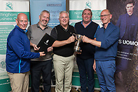 NCBC President Ian Roberts hands over the Winner's prize of a a Four Ball donated by The Nottinghamshire Golf & Country Club to Team Jamieson Christie - from left are Anthony Cawley, Dominic O' Brien, John Parkhouse and Derek Lowe