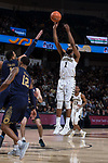 Keyshawn Woods (1) of the Wake Forest Demon Deacons attempts a jump shot during first half action against the Notre Dame Fighting Irish at the LJVM Coliseum on February 24, 2018 in Winston-Salem, North Carolina.  The Fighting Irish defeated the Demon Deacons 76-71.  (Brian Westerholt/Sports On Film)