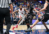 NWA Democrat-Gazette/CHARLIE KAIJO Arkansas Razorbacks guard Daryl Macon (4) drives up to the net as South Carolina Gamecocks defenders cover during the Southeastern Conference Men's Basketball Tournament, Thursday, March 8, 2018 at Scottrade Center in St. Louis, Mo.