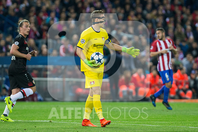 Bernd Leno of Bayer 04 Leverkusen during the match of Uefa Champions League between Atletico de Madrid and Bayer Leverkusen at Vicente Calderon Stadium  in Madrid, Spain. March 15, 2017. (ALTERPHOTOS / Rodrigo Jimenez)