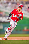 19 September 2015: Washington Nationals outfielder Bryce Harper rounds the bases after hitting his 41st home run of the season during a game against the Miami Marlins at Nationals Park in Washington, DC. The Nationals defeated the Marlins 5-2 in the third game of their 4-game series. Mandatory Credit: Ed Wolfstein Photo *** RAW (NEF) Image File Available ***