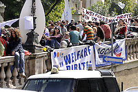 Roma, 27 Aprile 2011.Piazza del Campidoglio.Manifestazione dei lavoratori e degli utenti dei servizi sociali e cooperative contro i tagli al welfare