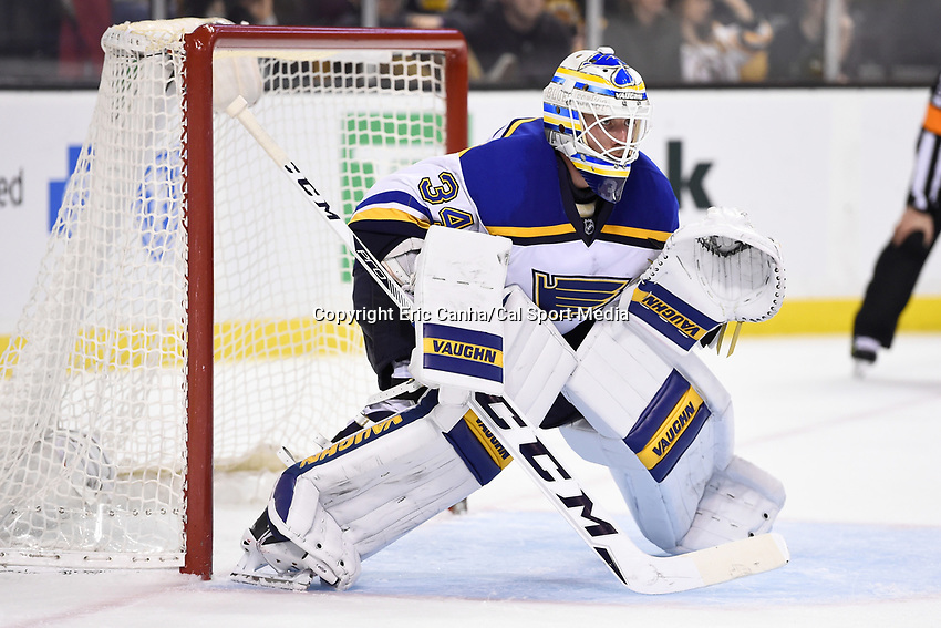 Tuesday, December 22, 2015: St. Louis Blues goalie Jake Allen (34) waits for the puck to drop during the National Hockey League game between the St. Louis Blues and the Boston Bruins held at TD Garden, in Boston, Massachusetts. The blues beat the Bruins 2-0 in regulation time. Eric Canha/CSM