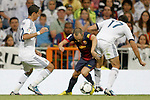 Real Madrid's  players  fight Barcelona's Iniesta during Super Copa of Spain on Agost 29th 2012...Photo:  (ALTERPHOTOS/Ricky)
