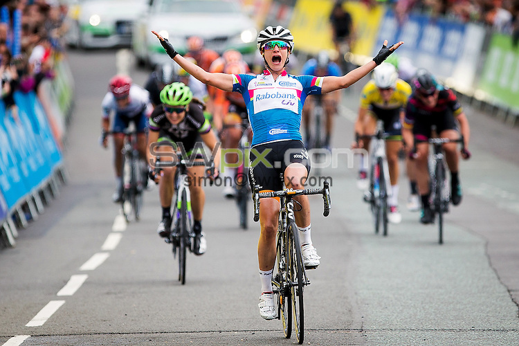 Picture by Alex Whitehead/SWpix.com - 18/06/2016 - Cycling - Aviva Women's Tour - Stage 4, Nottingham to Stoke-on-Trent - Rabobank-Liv's Marianne Vos celebrates winning Stage 4 in Stoke-on-Trent.