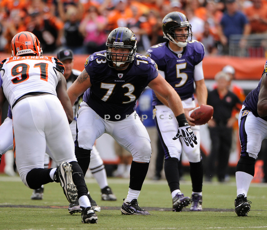 MARSHAL YANDA, of the Baltimore Ravens in action during the Ravens game against the Cincinnati Bengals on September 19, 2010 Paul Brown Stadium in Cincinnati, Ohio...The Bengals win 15-10