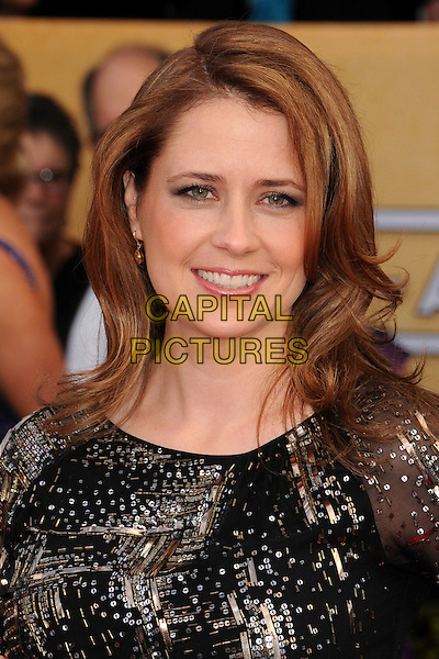 Jenna Fischer.Arrivals at the 19th Annual Screen Actors Guild Awards at the Shrine Auditorium in Los Angeles, California, USA..27th January 2013.SAG SAGs headshot portrait black gold silver sequins sequined .CAP/ADM/BP.©Byron Purvis/AdMedia/Capital Pictures