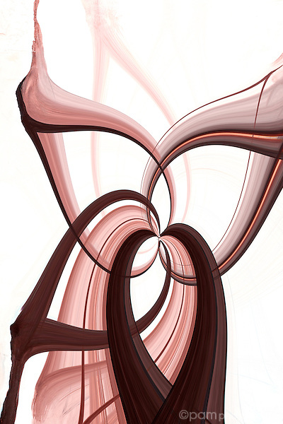 Brown and white abstract with curves and swirls