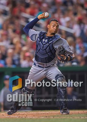 23 July 2016: San Diego Padres catcher Christian Bethancourt in action against the Washington Nationals at Nationals Park in Washington, DC. The Nationals defeated the Padres 3-2 to tie their series at one game apiece. Mandatory Credit: Ed Wolfstein Photo *** RAW (NEF) Image File Available ***