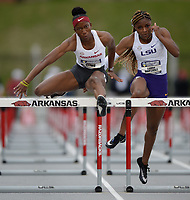 NWA Democrat-Gazette/ANDY SHUPE<br /> Arkansas' Janeek Brown (left) leads Tonea Marshall of LSU as they compete Saturday, May 11, 2019, in the 100-meter hurdles during the SEC Outdoor Track and Field Championships at John McDonnell Field in Fayetteville. Visit nwadg.com/photos to see more photographs from the meet.