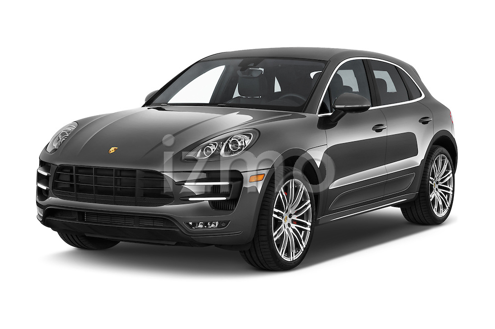 2015 Porsche Macan Turbo 5 Door SUV angular front stock photos of front three quarter view