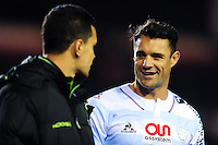 Dan Carter of Racing 92 has a word with Matt Toomua of Leicester Tigers after the match. European Rugby Champions Cup match, between Leicester Tigers and Racing 92 on October 23, 2016 at Welford Road in Leicester, England. Photo by: Patrick Khachfe / JMP