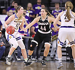 SIOUX FALLS, SD: MARCH 6: Morgan Blumer #12 of Western Illinois drives toward Omaha defender Michaela Dapprich #44 during the Summit League Basketball Championship on March 6, 2017 at the Denny Sanford Premier Center in Sioux Falls, SD. (Photo by Dick Carlson/Inertia)