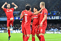 Erling Braut Haland of FC Salzburg (R) celebrates with Her Chan Hwang (C) , Takumi Minamino and Andreas Ulmer of FC Salzburg (R) after scoring on penalty the goal of 0-1 for his side<br /> Napoli 05-11-2019 Stadio San Paolo <br /> Football Champions League 2019/2020 Group E<br /> SSC Napoli - FC Salzburg<br /> Photo Antonietta Baldassarre / Insidefoto