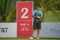 Kristopher WILLIAMSON (COK) watches his tee shot on 2 during Rd 1 of the Asia-Pacific Amateur Championship, Sentosa Golf Club, Singapore. 10/4/2018.<br /> Picture: Golffile | Ken Murray<br /> <br /> <br /> All photo usage must carry mandatory copyright credit (&copy; Golffile | Ken Murray)