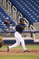 Juan Ortiz (34) of the AZL Brewers bats during a game against the AZL Athletics at Maryvale Baseball Park on June 30, 2015 in Phoenix, Arizona. Brewers defeated Athletics, 4-2. (Larry Goren/Four Seam Images)