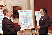 United States President Ronald Reagan discusses the Enterprise Zone Program with Mayor William Donald Schaefer of Baltimore, Maryland in the White House in Washington, DC on January 21, 1982.<br /> Mandatory Credit: Mary Anne Fackelman / White House via CNP