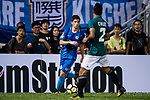 Barak Braunshtain of SC Kitchee (L) in action during the Community Cup match between Kitchee and Eastern Long Lions at Mong Kok Stadium on September 23, 2017 in Hong Kong, China. Photo by Marcio Rodrigo Machado / Power Sport Images