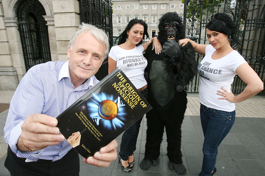 "NO REPRO FEE. 15/9/2010. John J. May launches his controversial book ""The Origin of Specious Nonsense"" outside the Dail in Dublin.  Also pictured are a gorrila , Joan Fitzgerald and Janine Clancy. The launch will then commences at 7pm in Buswells hotel where he delivers his talk: ""How evolution made monkeys out of man"" Picture James Horan/Collins Photos"