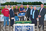 PRESENTATION: Frank Hayes director of corporate affairs Kerry Group presenting Nick E. Cotter owner of Headleys Jake winner of the Kerry Group Hospital Sweepstake Final at the Kingdom Greyhound Stadium on Friday l-r: Edward O'Sullivan (trainer), Kieran Casey (Racing manager KGS), Dick O'Sullivan (Chairman IGB), Neilus O'Sullivan, Nick E. Cotter (owner), Frank Hayes (director of corporate affairs Kerry Group), Dr Tom McCormac, Liam Brassil and Declan Dowling (Sales & Operations Manager KGS).