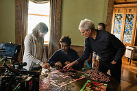 Behind the scenes photo of Kelly Macdonald, Irrfan Khan & Marc Turtletaub.<br /> Puzzle (2018)<br /> *Filmstill - Editorial Use Only*<br /> CAP/RFS<br /> Image supplied by Capital Pictures