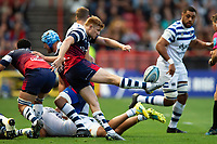 Nic Stirzaker of Bristol Bears box-kicks the ball. Gallagher Premiership match, between Bristol Bears and Bath Rugby on August 31, 2018 at Ashton Gate Stadium in Bristol, England. Photo by: Patrick Khachfe / Onside Images