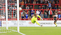Stevenage goalkeeper Jamie Jones is helpless as Cameron McGeehans shot flies into the back of the net during the Sky Bet League 2 match between Stevenage and Luton Town at the Lamex Stadium, Stevenage, England on 20 August 2016. Photo by Liam Smith.