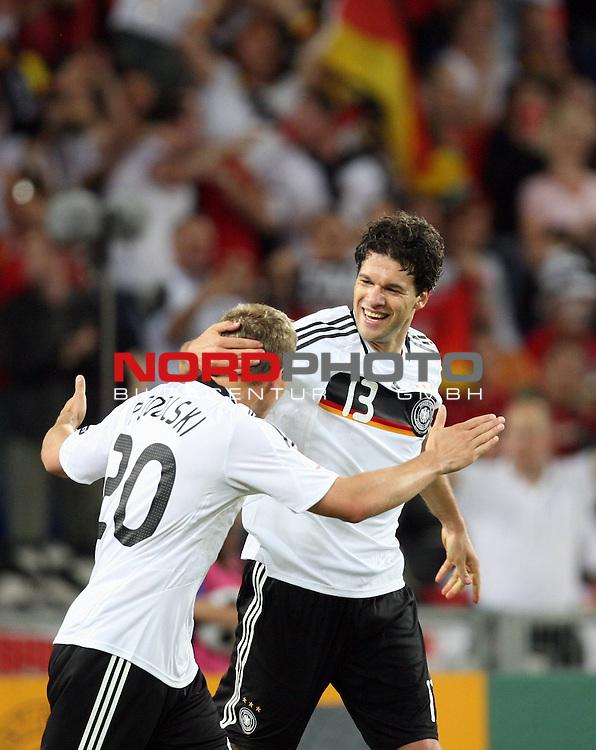 UEFA Euro 2008 Quarter-Finals Match 25 Basel - St. Jakob-Park. Portugal ( POR ) - Deutschland ( GER ). <br /> Torsch&uuml;tze Michael Ballack ( Germany / Mittelfeldspieler / Midfielder / Chelsea London #13 ) (r) feiert seinen Treffer zum 3:1 mit Lukas Podolski ( Germany / Angreifer / Forward / Bayern Muenchen #20 ) (l).<br /> Foto &copy; nph (  nordphoto  )