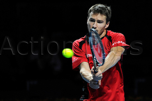 28.10.2015. Basel, Switzerland. Basel Swiss Indoor Tennis Championships. Day Four. Marco Chiudinelli in action in the match between Marin Cilic of Croatia and Marco Chiudinelli of Switzerland