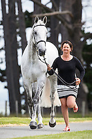 AUS-Simone Kann (LUMINOUS) CCI1* FIRST HORSE INSPECTION: 2015 NZL-Puhinui International Three Day Event - presented by Honda NZ (Thursday 10 December: CREDIT: Libby Law COPYRIGHT: LIBBY LAW PHOTOGRAPHY