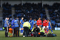 The medical teams from both sides urgently treat Barnsley's Kieffer Moore after suffering a nasty injury during Gillingham vs Barnsley, Sky Bet EFL League 1 Football at The Medway Priestfield Stadium on 9th February 2019
