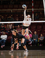 STANFORD, CA - December 1, 2017: Meghan McClure, Morgan Hentz at Maples Pavilion. The Stanford Cardinal defeated the CSU Bakersfield Roadrunners 3-0 in the first round of the NCAA tournament.