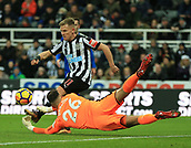 9th December 2017, St James Park, Newcastle upon Tyne, England; EPL Premier League football, Newcastle United versus Leicester City; Matt Ritchie of Newcastle United clears with Karl Darlow of Newcastle United trying to gather the ball in the first half