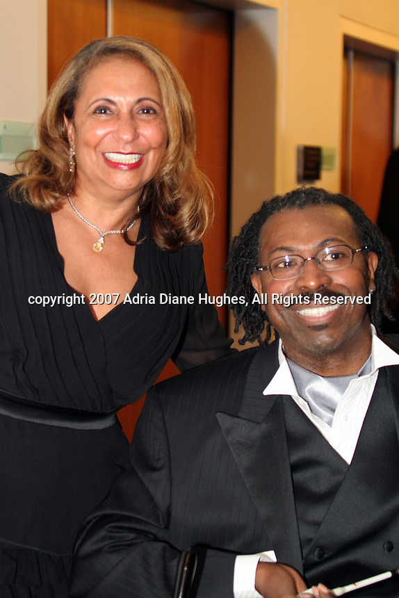 Cathy Hughes and Teddy Pendergrass backstage at the 25TH Anniversary Celebration in Philadelphia, PA, Kimmel Center.
