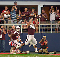 STAFF PHOTO BEN GOFF  @NWABenGoff -- 09/27/14 Texas A&M tight end David Darley catches a touchdown pass during the second quarter of the game against Texas A&M in the Southwest Classic in AT&T Stadium in Arlington, Texas on Saturday September 27, 2014. The touchdown was called back on a penalty.