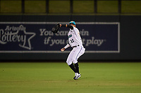 Salt River Rafters center fielder Victor Victor Mesa (10), of the Miami Marlins organization, throws a runner out at home plate during an Arizona Fall League game against the Naranjeros de Hermosillo on September 24, 2019 at Salt River Fields at Talking Stick in Phoenix, Arizona. Salt River defeated Hermosillo 4-1. The Naranjeros, of the Mexican Pacific League, played in Scottsdale as part of the Mexican baseball Fiesta. (Zachary Lucy/Four Seam Images)