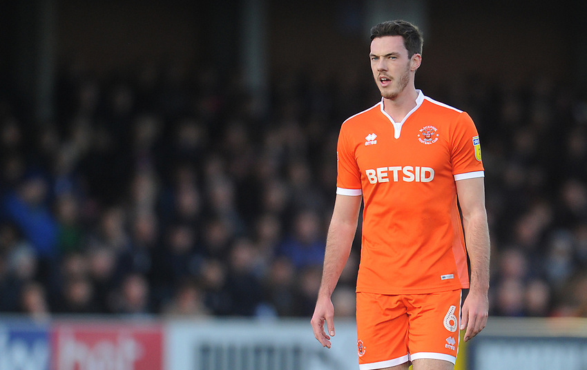 Blackpool's Ben Heneghan<br /> <br /> Photographer Kevin Barnes/CameraSport<br /> <br /> The EFL Sky Bet League One - AFC Wimbledon v Blackpool - Saturday 29th December 2018 - Kingsmeadow Stadium - London<br /> <br /> World Copyright © 2018 CameraSport. All rights reserved. 43 Linden Ave. Countesthorpe. Leicester. England. LE8 5PG - Tel: +44 (0) 116 277 4147 - admin@camerasport.com - www.camerasport.com