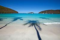 Maho Bay Beach<br /> with palm tree shadows<br /> Virgin Islands National Park<br /> St. John, U.S. Virgin Islands
