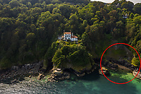 BNPS.co.uk (01202 558833)<br /> Pic: Savills/BNPS<br /> <br /> Bar Lodge comes with a private beach (circled). <br /> <br /> A breathtaking clifftop home that comes with its own private beach has emerged for sale for an incredible £2m.<br /> <br /> Bar Lodge, which dates back to the Edwardian period, sits in a stunning coastal position right in the mouth of the Salcombe Estuary in Devon.<br /> <br /> It is positioned high above the sea and enjoys unrivaled views right across the picturesque waterway and rocky coastline.